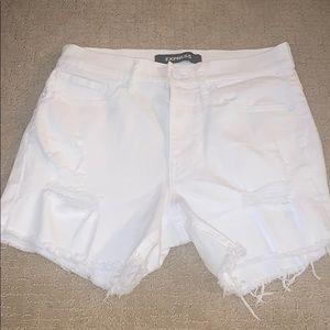 Bermuda High waisted white boyfriend denim shorts